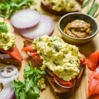 Smoked Salmon Egg Salad Sandwiches are perfect for spring brunches or showers. Made with capers, grainy mustard, and chives, these sandwiches are packed with flavor!