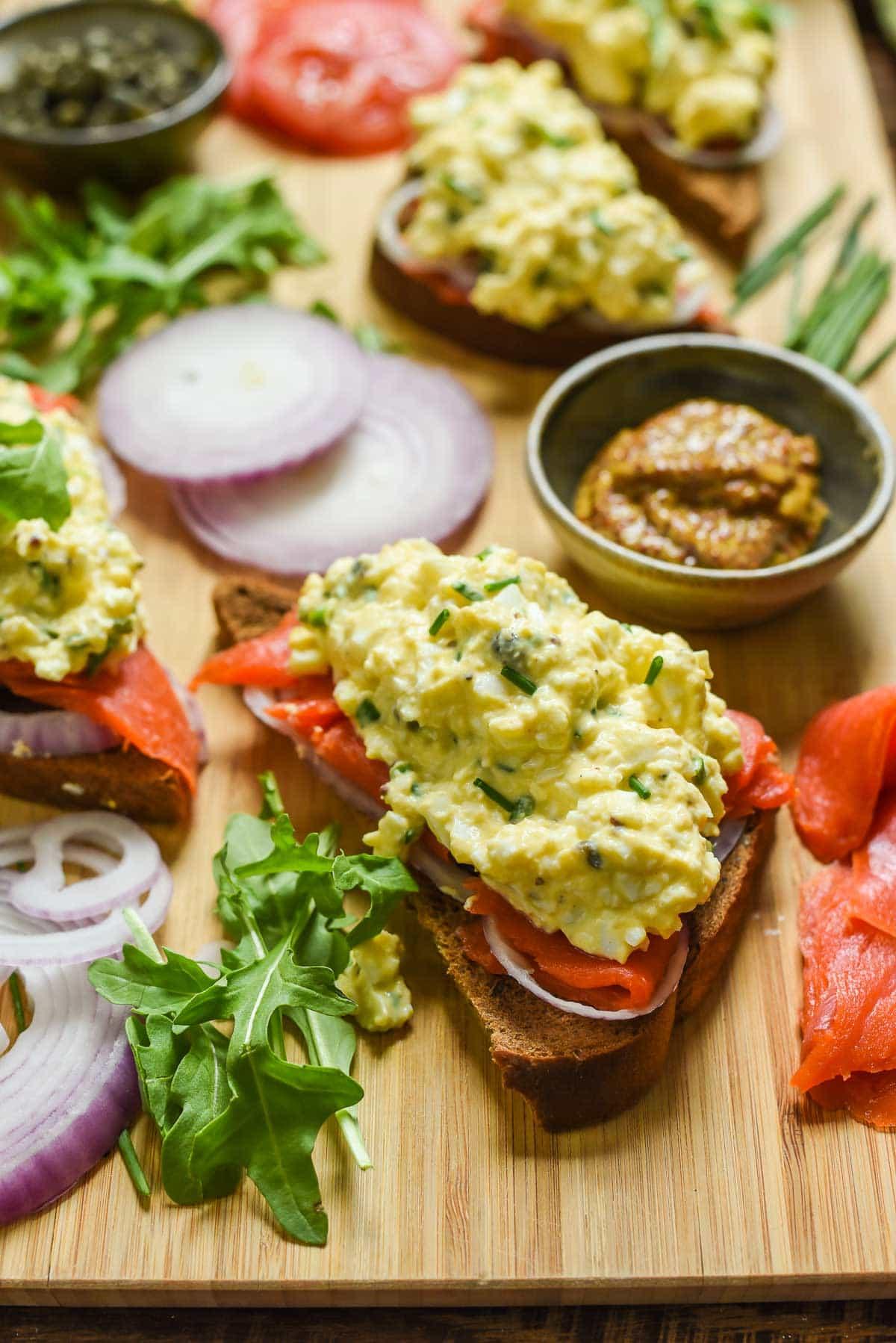Smoked Salmon Egg Salad Sandwiches