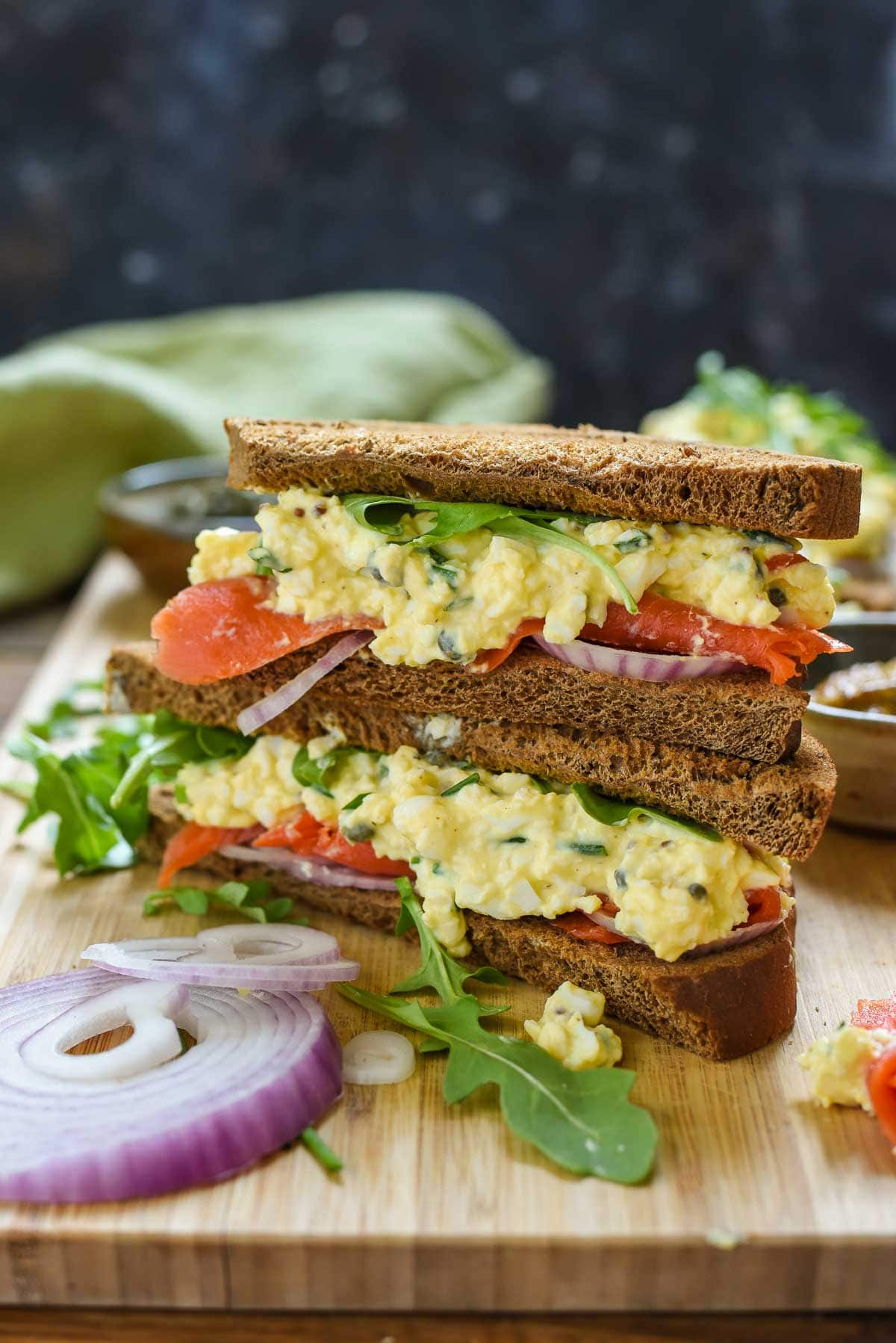 Smoked Salmon Egg Salad Sandwiches are a great quick lunch or spring shower idea. Perfect for using up hardboiled eggs!