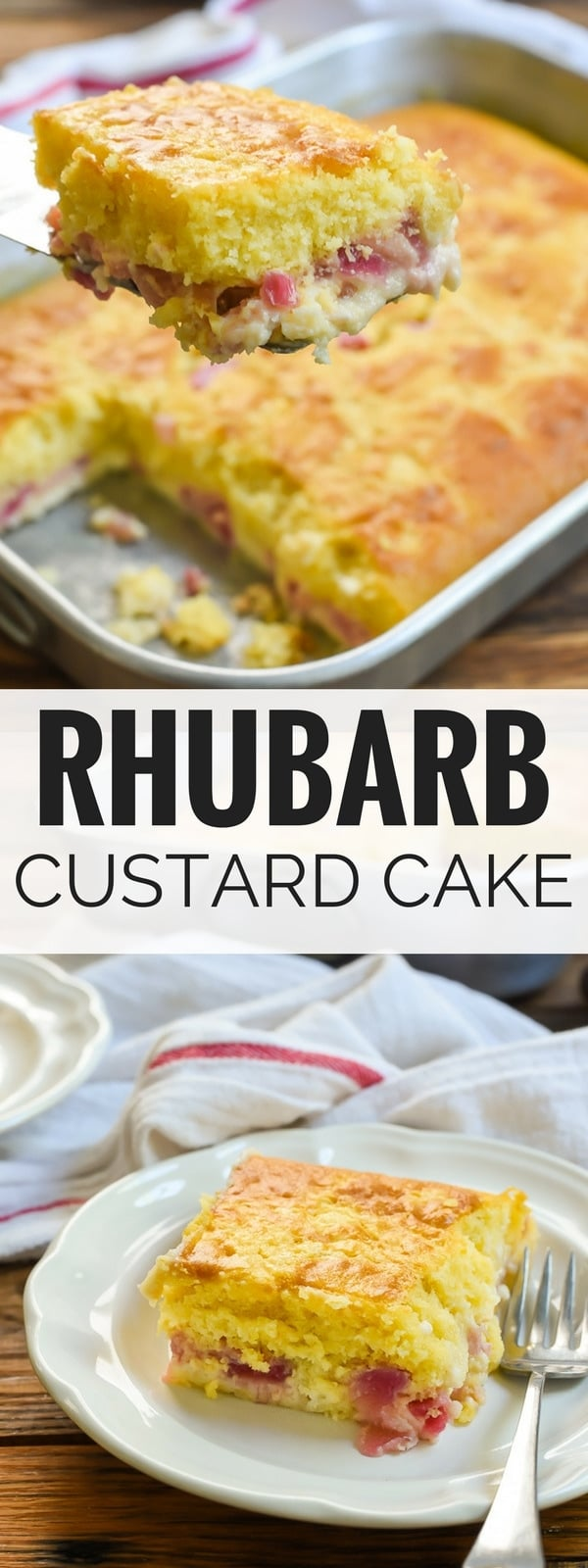 This Rhubarb Custard Cake with a fluffy cake layer and a creamy rhubarb custard layer is the perfect spring dessert. And did I mention how incredibly EASY it is to make?