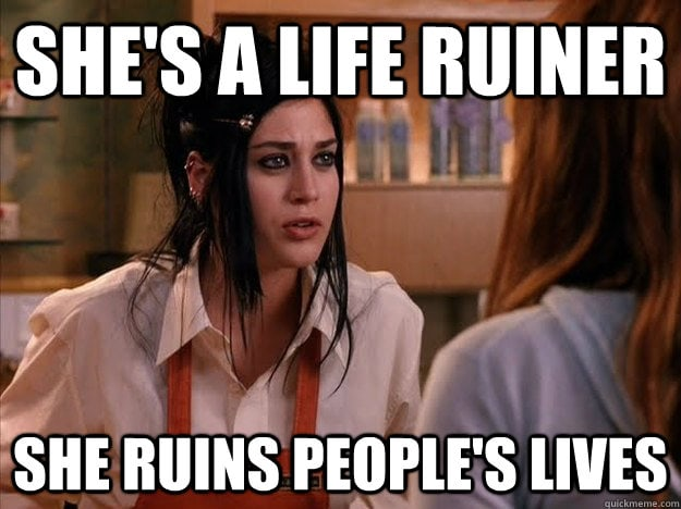 Almost every mom I know is battling an inner mean girl. But when we start heaping ourselves with guilt and judgment, we have to remember what Mean Girls taught us all those years ago. That mean girl voice is a life ruiner. She ruins people's lives.