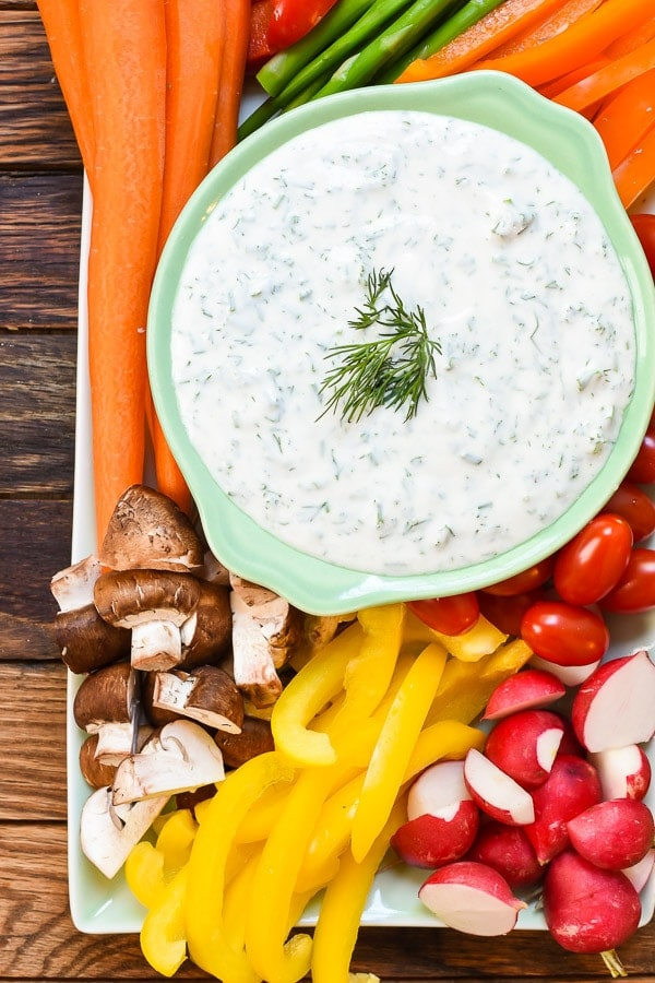 This Spring Vegetable Platter with Herbed Greek Yogurt is the perfect appetizer for spring and summer cookouts!