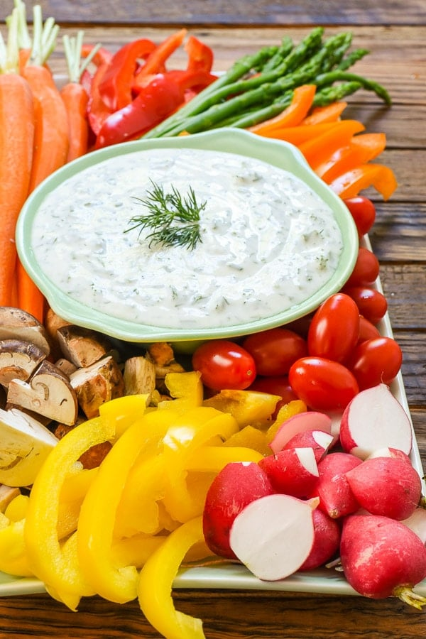 Say goodbye to boring vegetable platters and hello to this tasty, beautiful Spring Vegetable Platter with Herbed Greek Yogurt Dip.