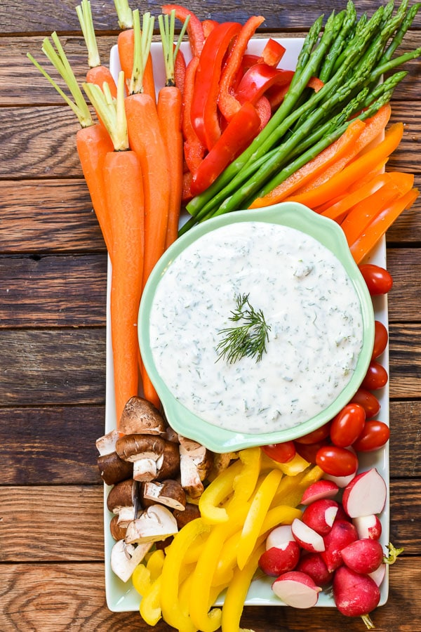 This Spring Vegetable Platter puts those boring store-bought versions to shame. The freshest, most colorful spring veggies are paired with a quick herbed Greek yogurt dip for an appetizer people will actually enjoy eating!