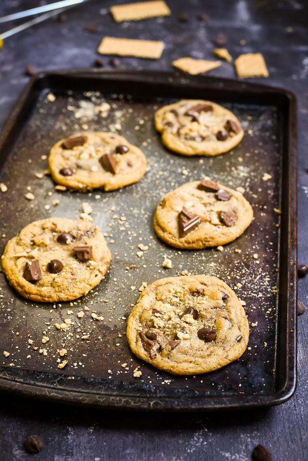 These Graham Cracker Chocolate Chip Cookies are soft and chewy with chunks of semi sweet and milk chocolate.