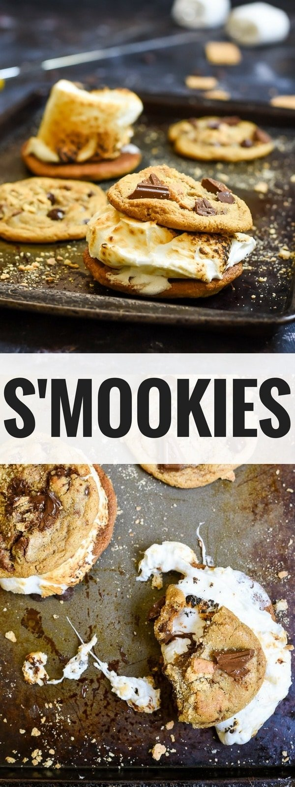 These Graham Cracker Chocolate Chip Cookies (or S'mookies!) are my favorite summer dessert. Chewy, melty, gooey goodness with a toasted marshmallow nestled inside. It's perfect for campfire evenings!