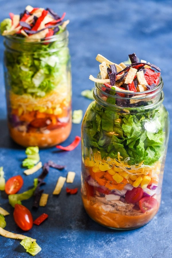 Mason Jar Taco Salads are a hearty, healthy lunch you can prepare in advance and have ready to go when you are!