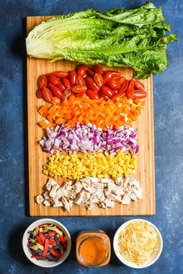 Mason Jar Chicken Taco Salad ingredients