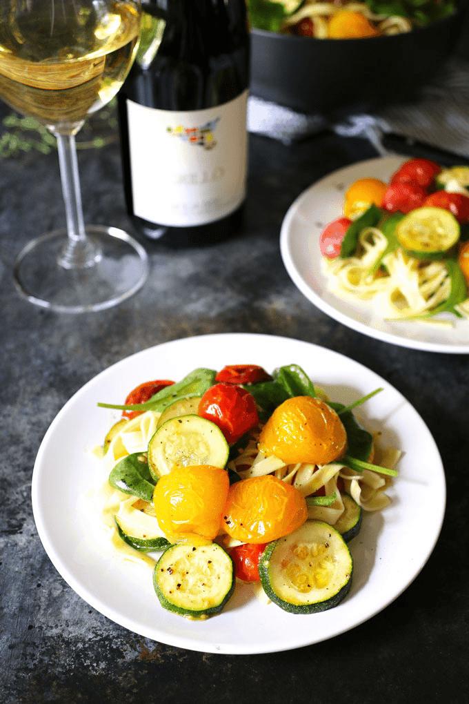 Roasted Tomato Zucchini Spinach Fettucini