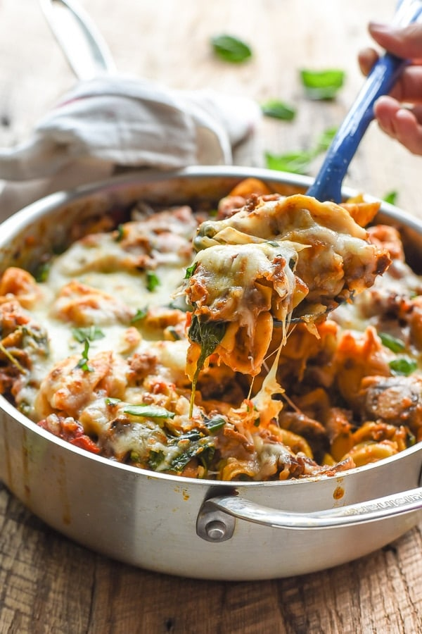 Cheesy One Pot Tortellini and Sausage is a great weeknight meal the whole family will love.