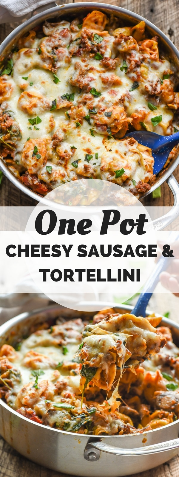 This Cheesy One Pot Tortellini with Italian Sausage and Veggies is a quick weeknight meal that everyone will love!