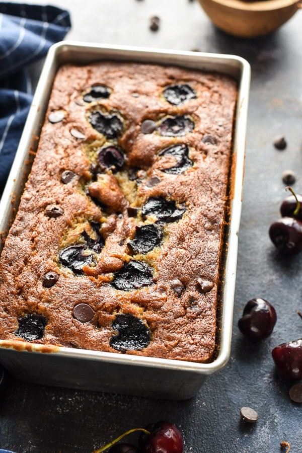 This Cherry Chocolate Chip Banana Bread is an easy quick bread that's sure to be a crowd pleaser.