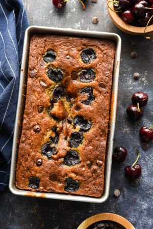 This Cherry Chocolate Chip Banana Bread may look fancy, but it's a cinch to make and tastes so good@