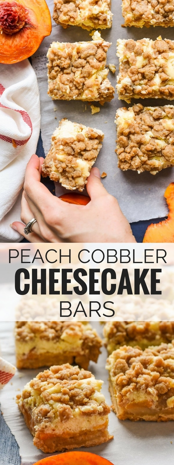 Peach Cobbler Cheesecake Bars combine two amazing desserts to make one delicious crunchy, creamy bar.