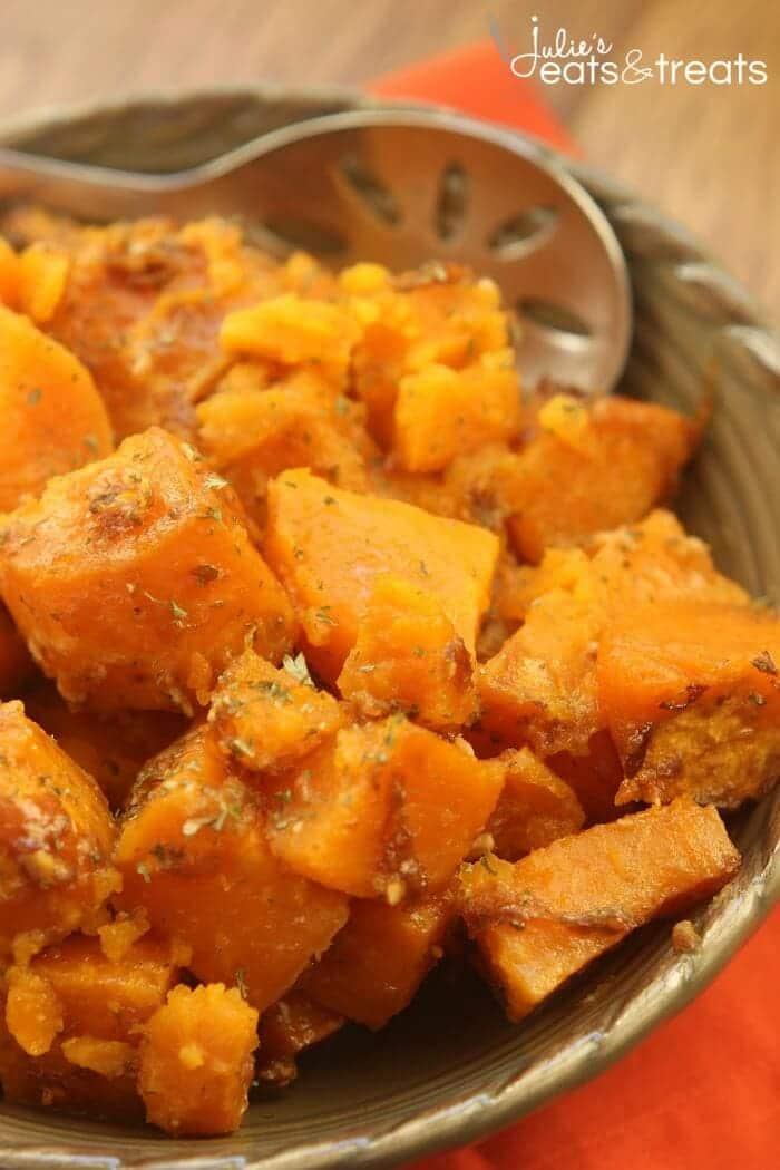 Parmesan Crock Pot Sweet Potatoes