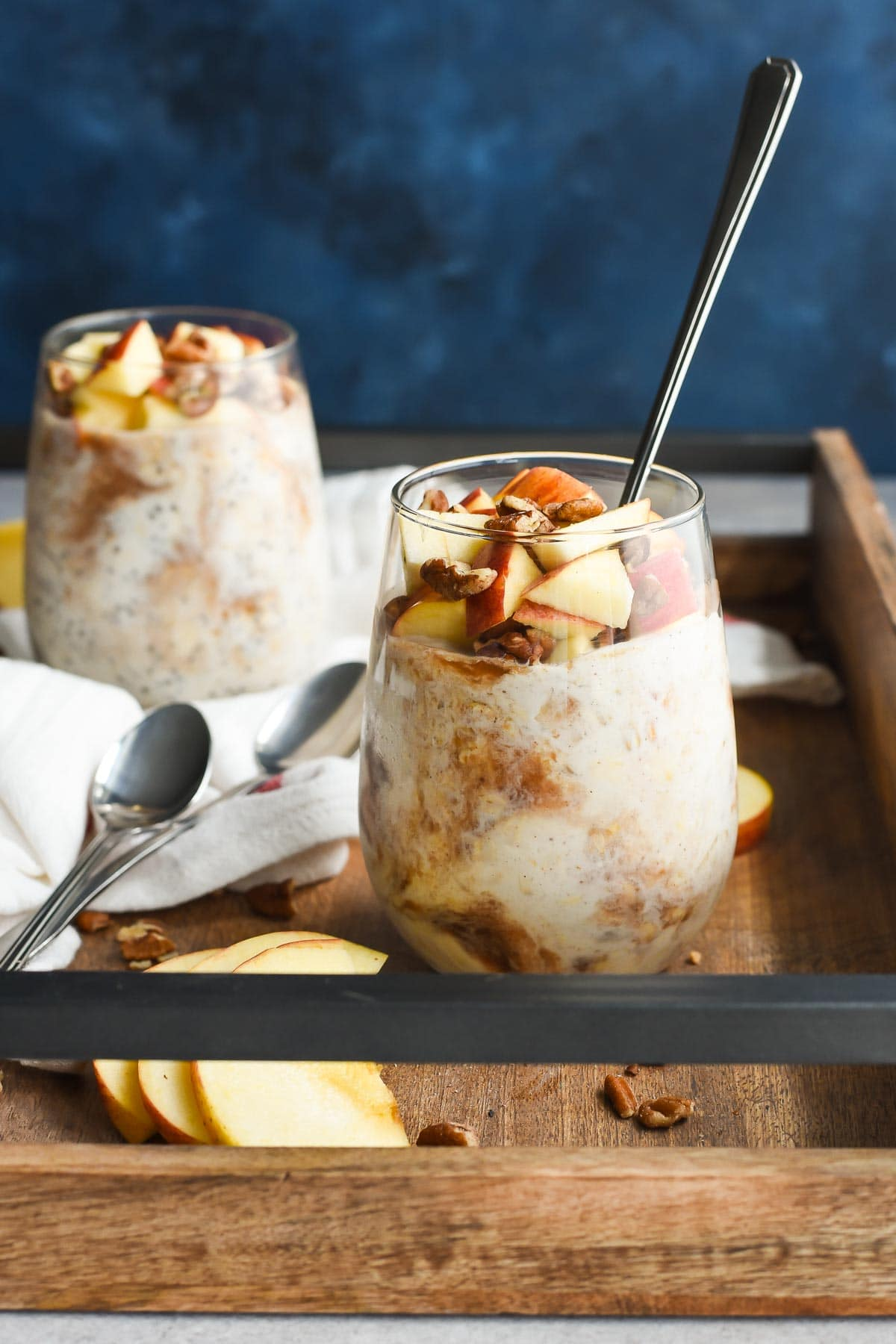 These Apple Butter Overnight Oats are my favorite healthy breakfast. They take only five minutes to prep, and I wake up to a healthy delicious breakfast!