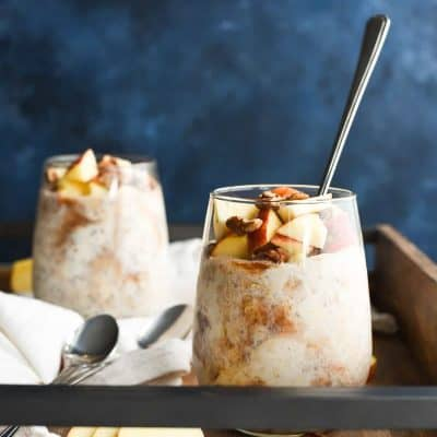 Apple Butter Overnight Oats are creamy with a swirl of sweetly spiced apple butter. This is how fall should taste!