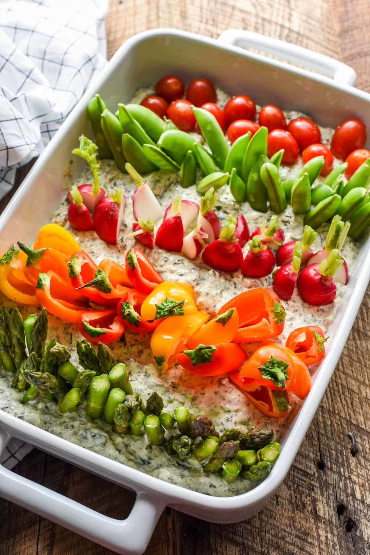 This Garden Veggie Dip is cute enough for a farm themed birthday party but pretty enough for a fancy dinner party. Plus, it's so easy to make!