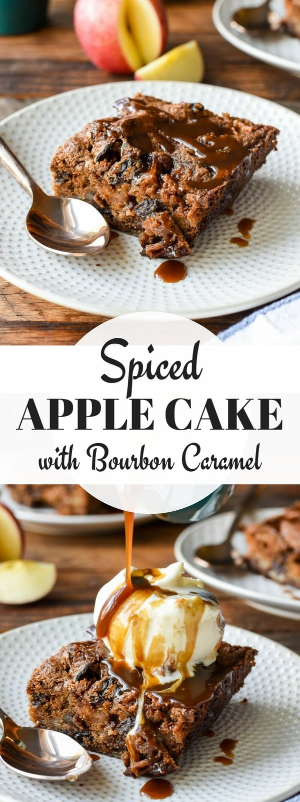 Add this Spiced Apple Cake with Bourbon Caramel to your Thanksgiving menu! Loaded with chewy bits of dried fruit and pecans, this warm and spicy cake is perfect for fall!