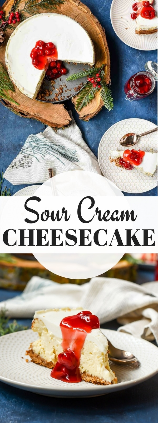 This Sour Cream Cheesecake is an unbelievably smooth, creamy, fluffy cheesecake topped with a layer of tangy sweet sour cream. Absolutely the best cheesecake around!