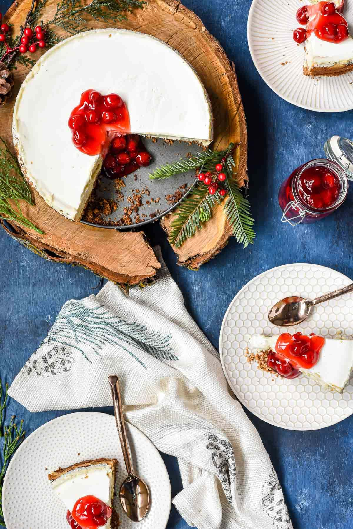 This Sour Cream Cheesecake is light, fluffy, and deceptively easy to make!