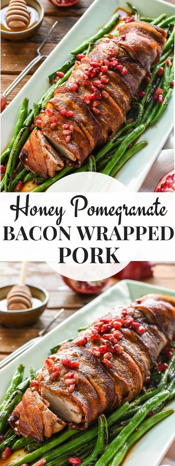 This Bacon Wrapped Pork Tenderloin is glazed with a simple pomegranate honey sauce for an amazing special occasion dinner!