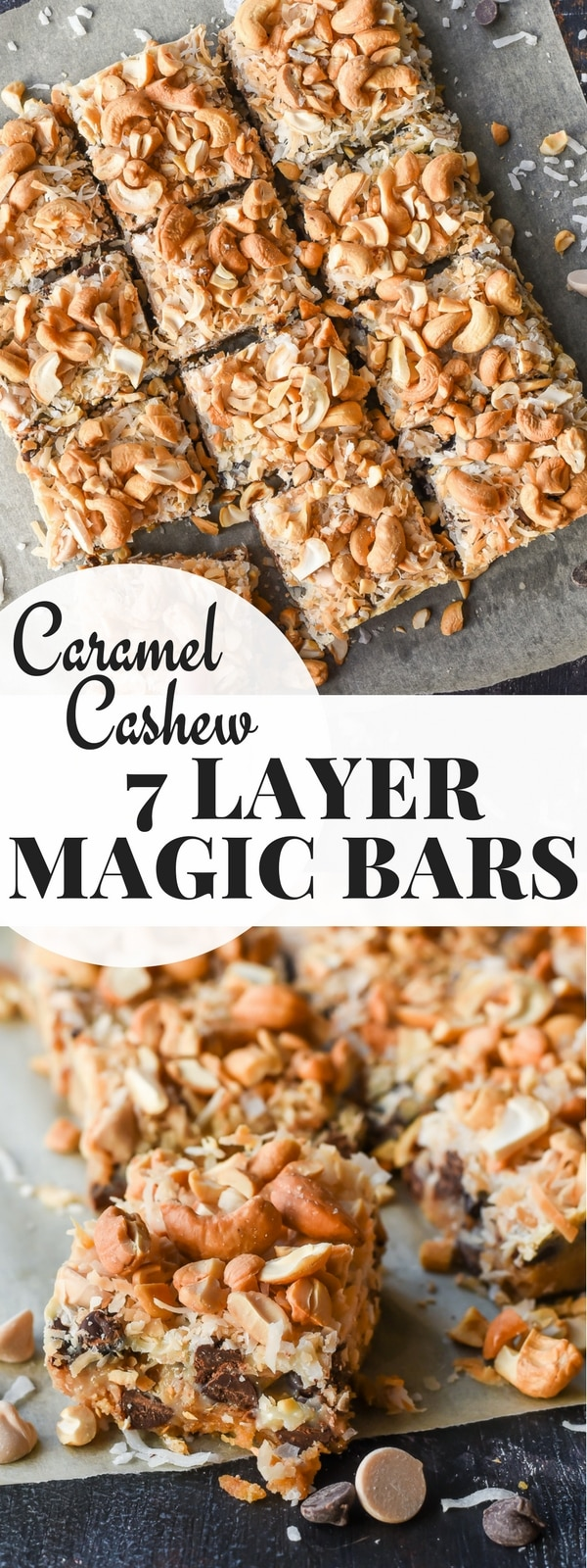These easy 7 Layer Magic Bars are loaded with layers of graham cracker, chocolate, caramel, coconut, and cashews for a rich treat everyone will love!