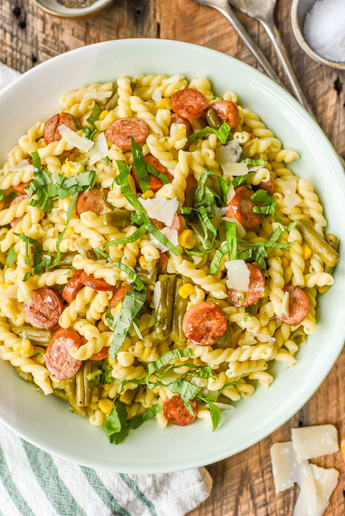 Easy Parmesan Pasta with Chicken Sausage, Green Beans, and Corn