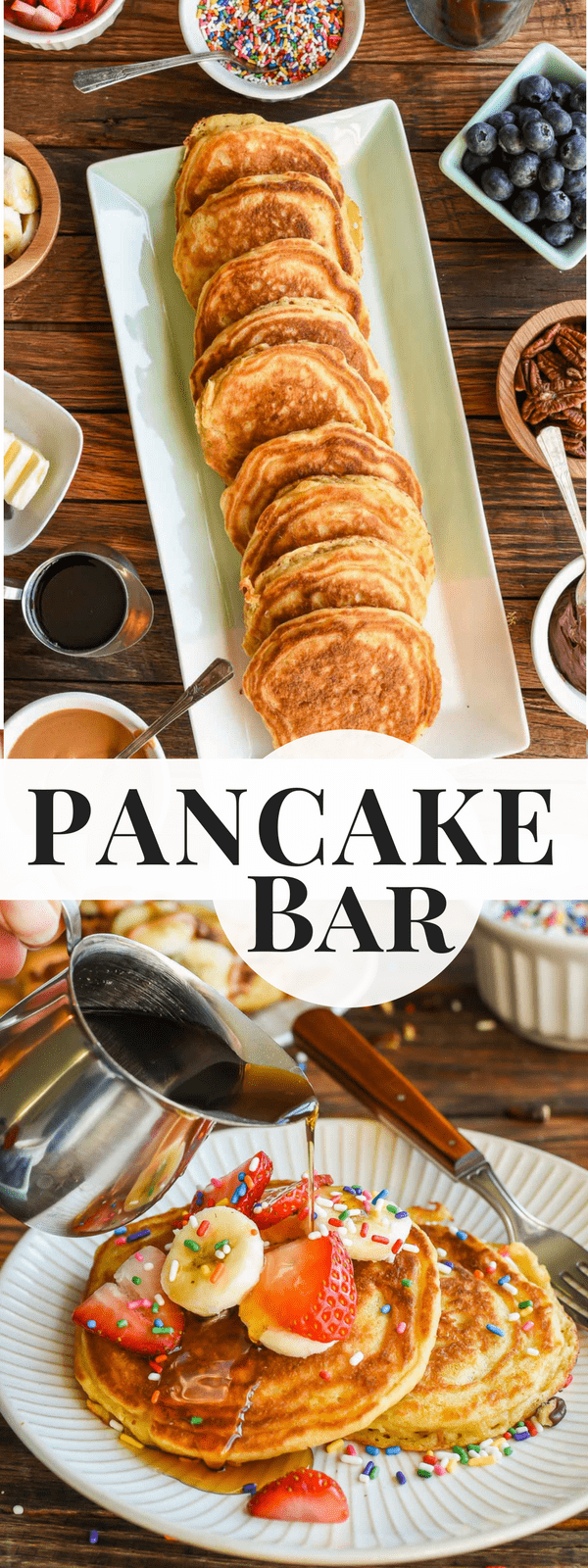 Learn how to throw an epic Pancake Bar Party with this easy guide for make ahead buttermilk pancakes and loads of fun toppings!