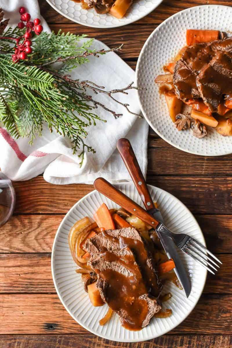 Slow Cooker Balsamic Roast with Mushrooms and Parsnips