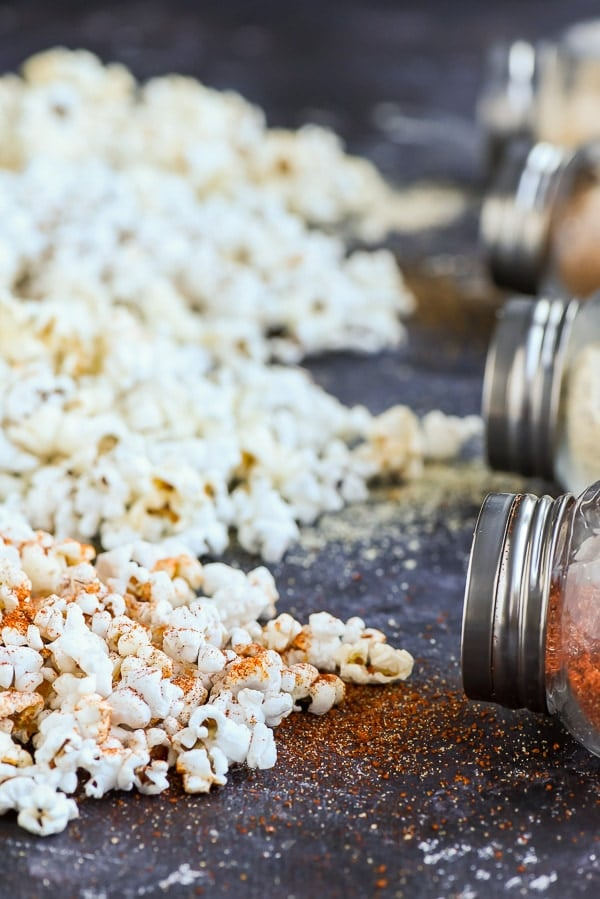 Piles of popcorn with seasoning