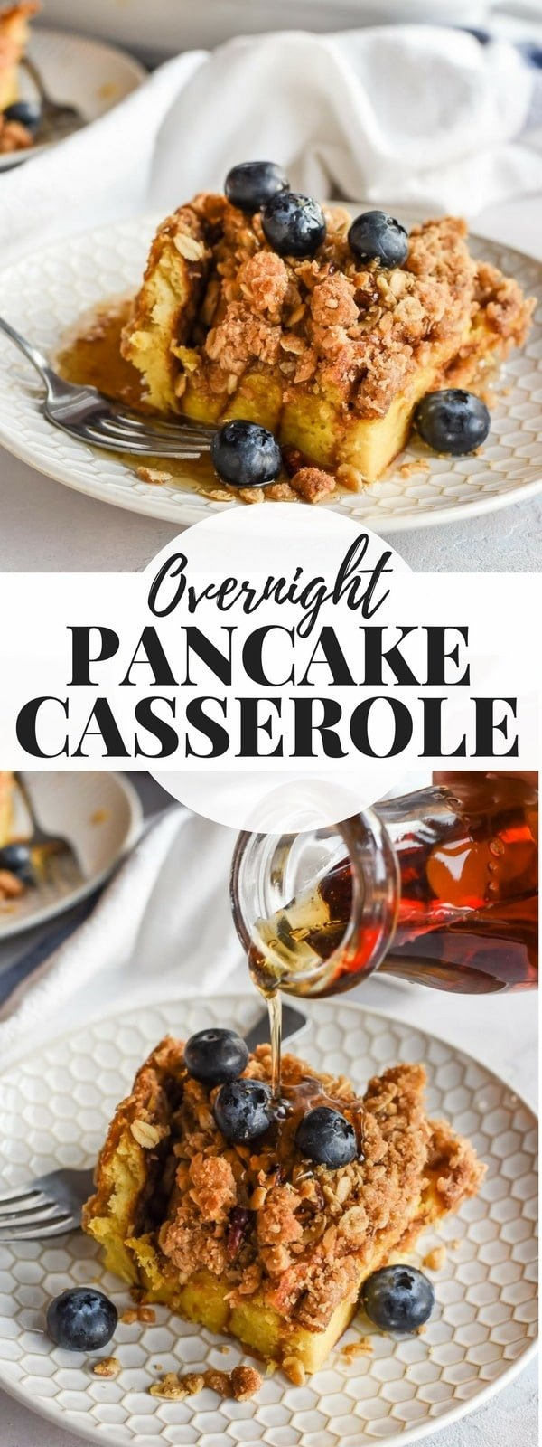 Overnight Pancake Casserole slices with blueberries and syrup