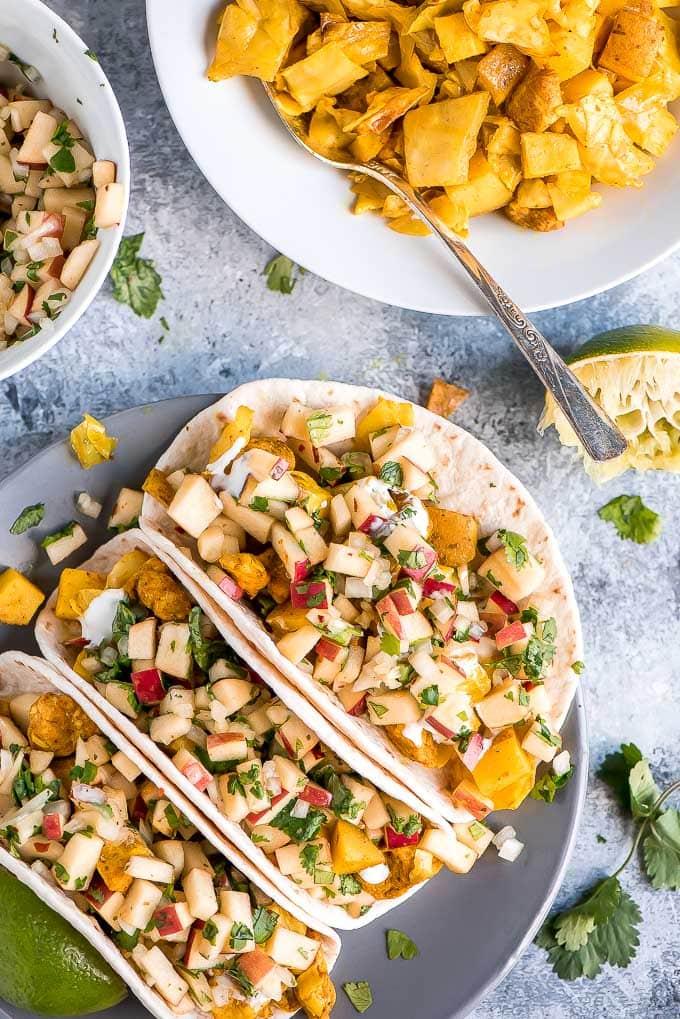 Chicken Cabbage Potato Tacos