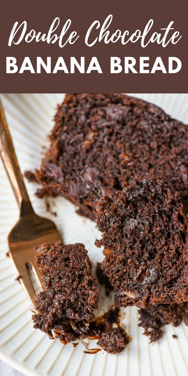Slice of double chocolate banana bread with a fork