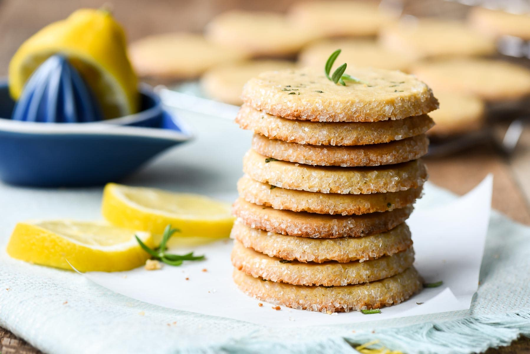 Stack of lemon rosemary butter cookies with sugared edges
