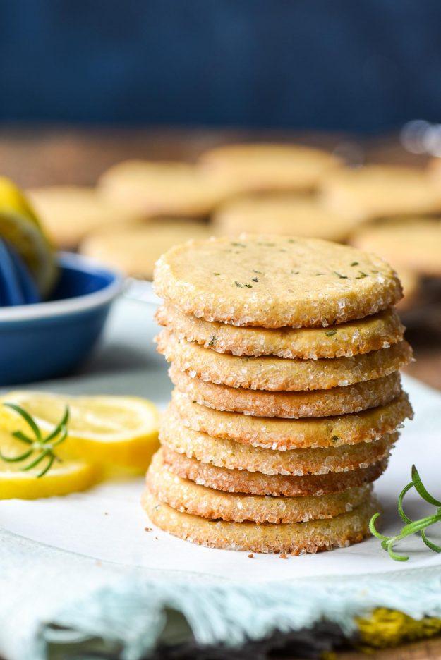 Stack of Lemon Rosemary Butter Cookies