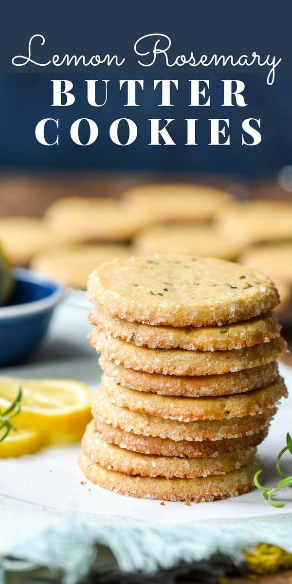 Stack of lemon rosemary butter cookies with sugared rim