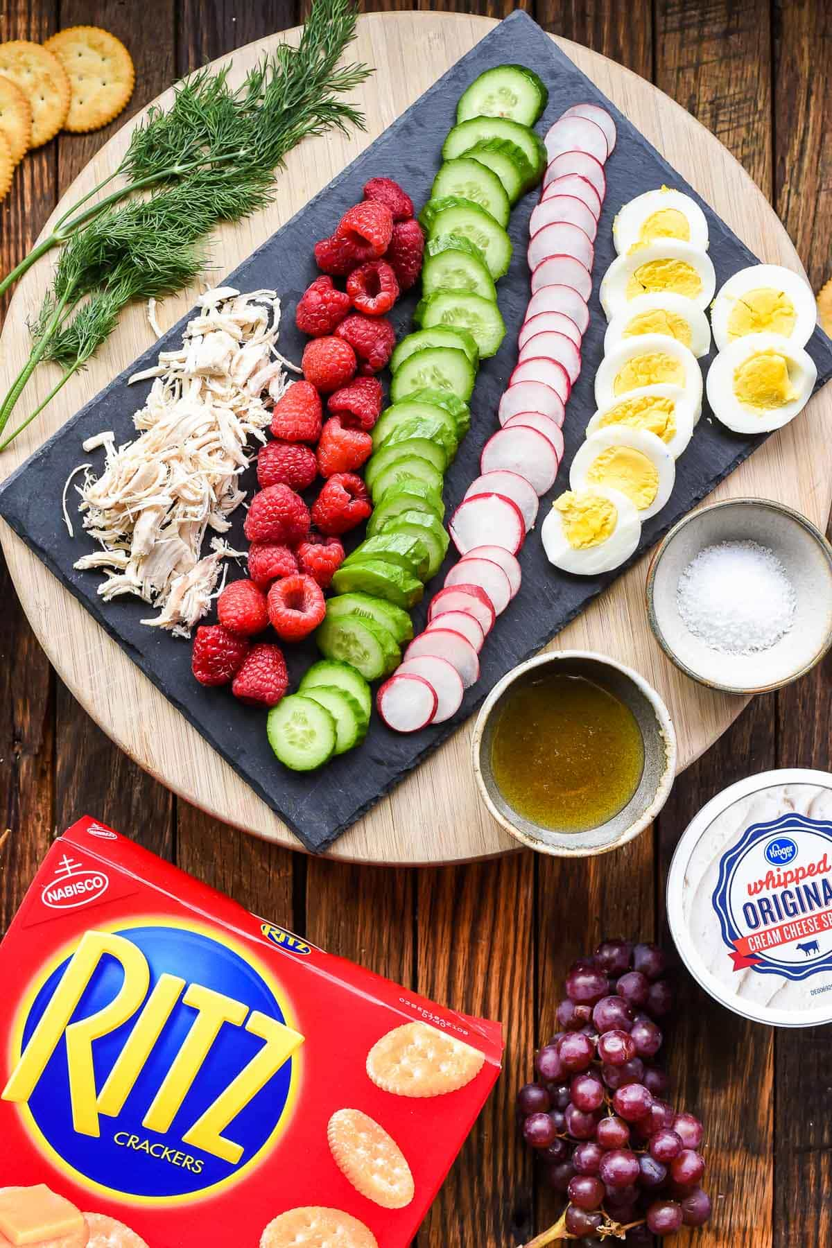 Toppings for Ritz crackers on a platter