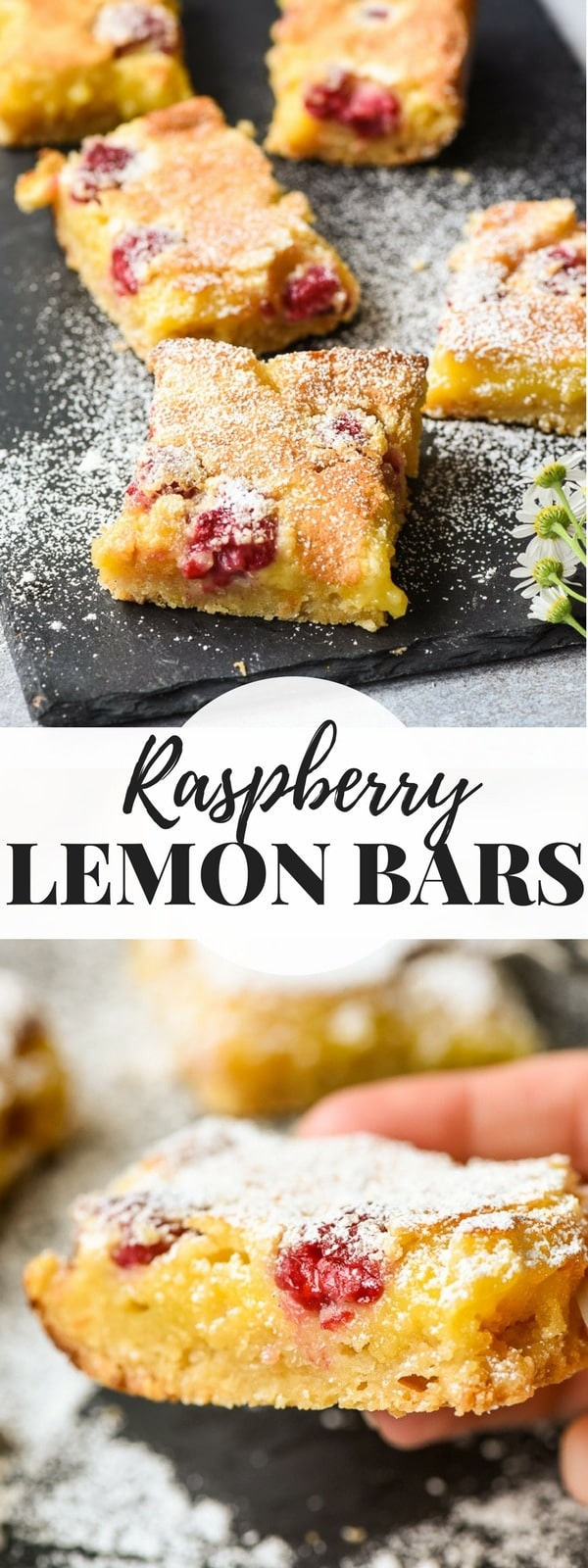 Lemon Raspberry Bars on a slate board