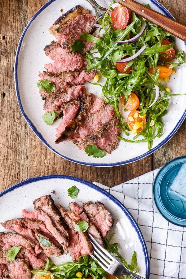 Sliced Marinated Skirt Steak and summer salad
