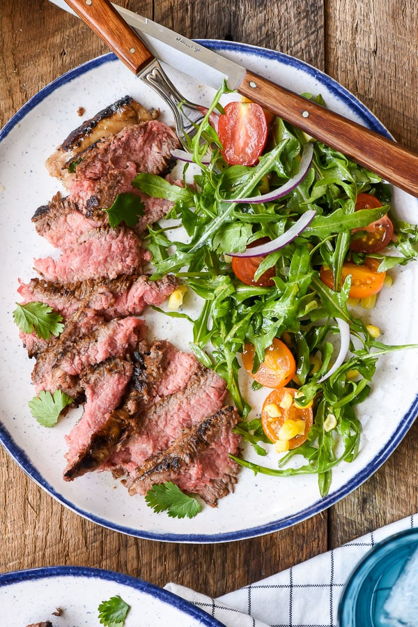 Marinated Skirt Steak with Simple Summer Salad