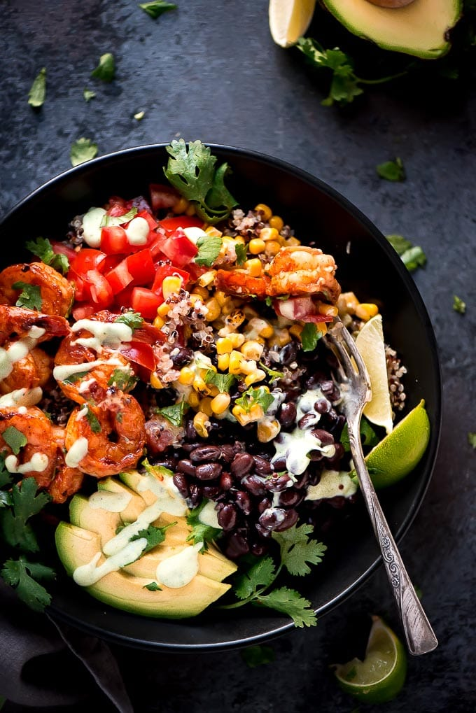Honey Lime Shrimp Quinoa Bowls