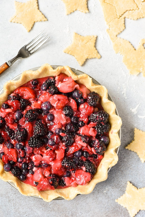 Bumbleberry pie with exposed filling