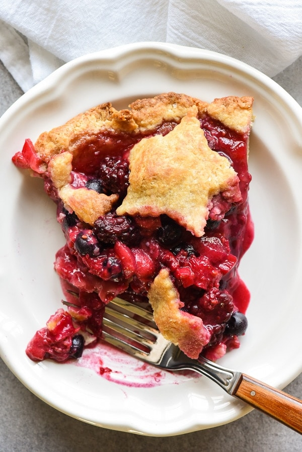 Slice of Bumbleberry Pie on a plate