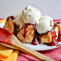 Grilled Angel Food Cake with Strawberry Rhubarb Compote