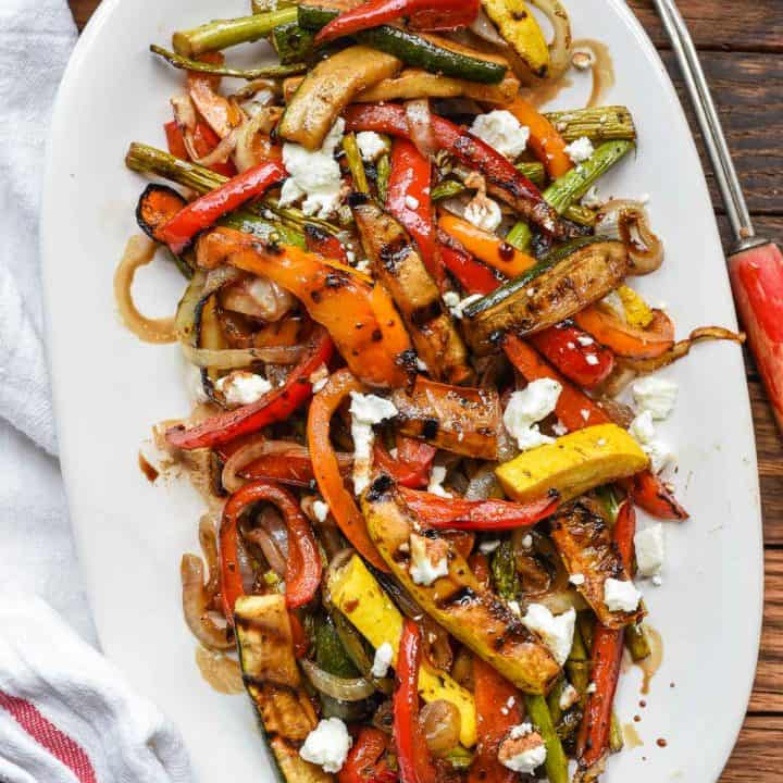 Easy Balsamic Grilled Vegetables with Feta