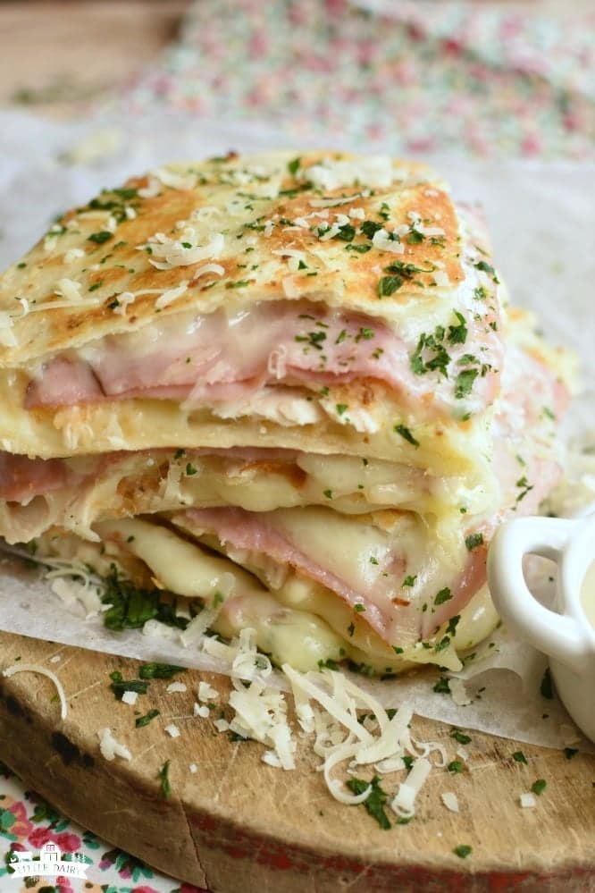 Stack of Cheesy Chicken Cordon Bleu Quesadillas