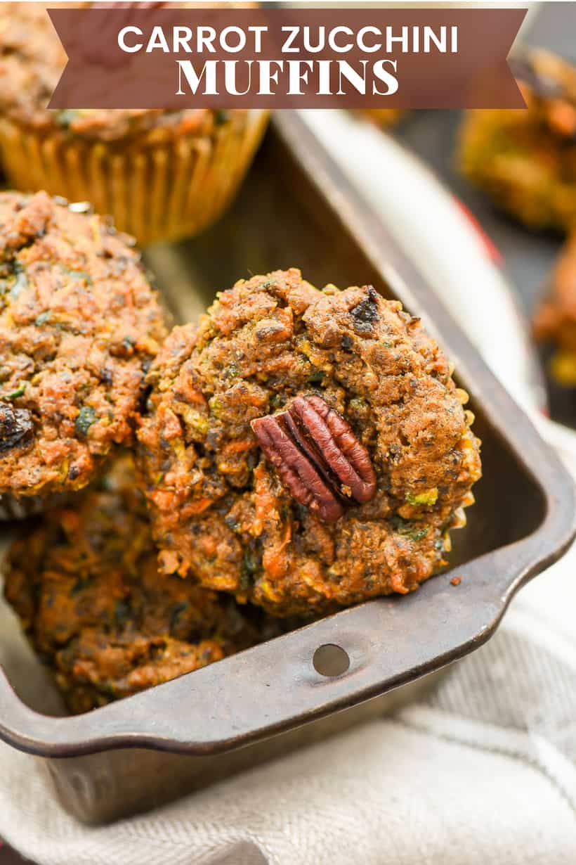 Carrot Zucchini Muffins in a vintage tin