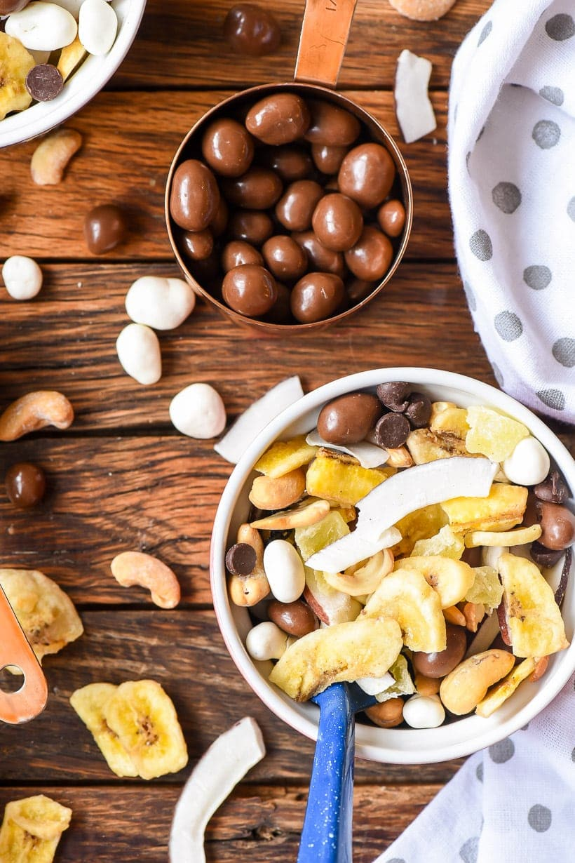 Chunky Monkey Trail Mix with chocolate covered peanuts