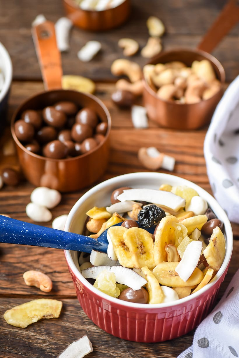 Chunky Monkey Trail Mix in bowls